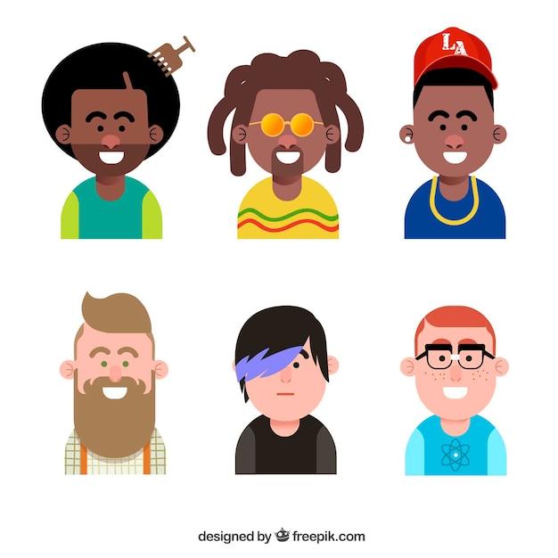 Flat pack of cool male avatars
