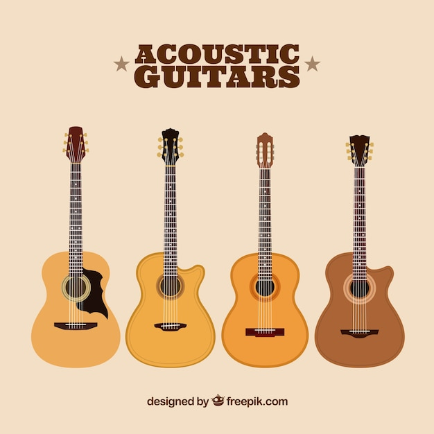 Flat pack of four acoustic guitars Free Vector