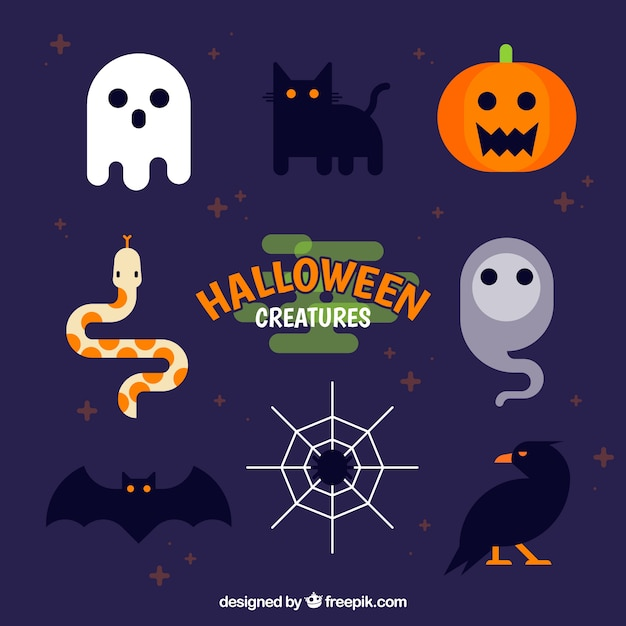 Flat pack of funny halloween elements Vector | Free Download