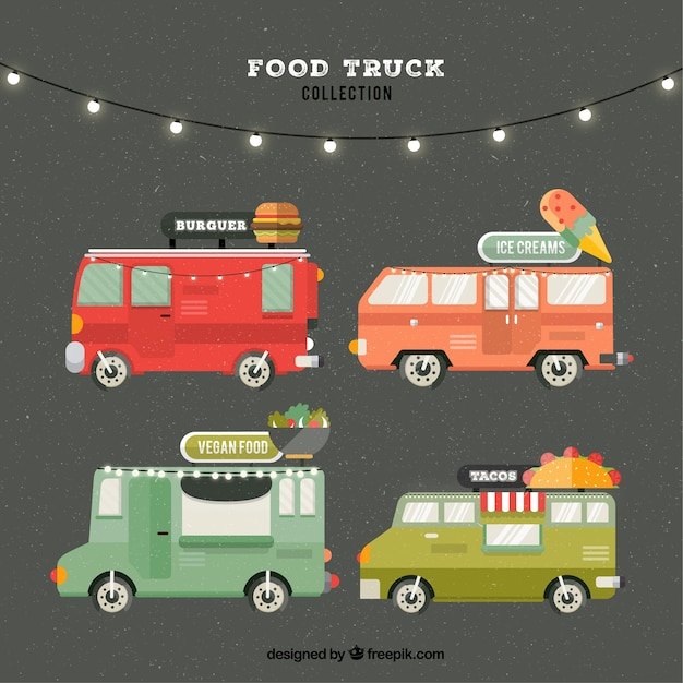 Flat pack of modern food trucks