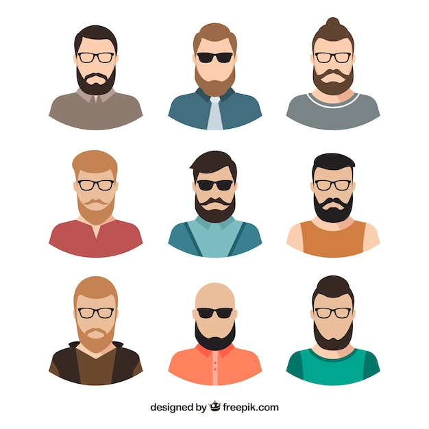 Flat pack of modern male avatars