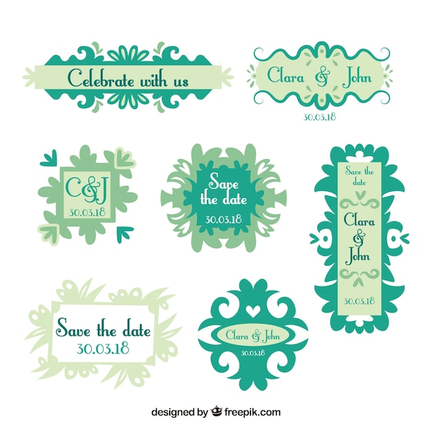Flat pack of modern wedding labels