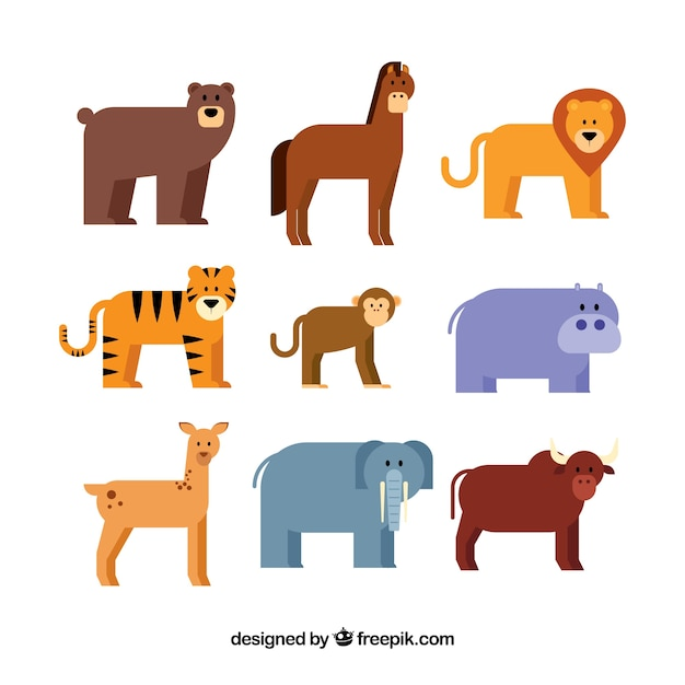 Flat pack of nine different animals Vector Free Download