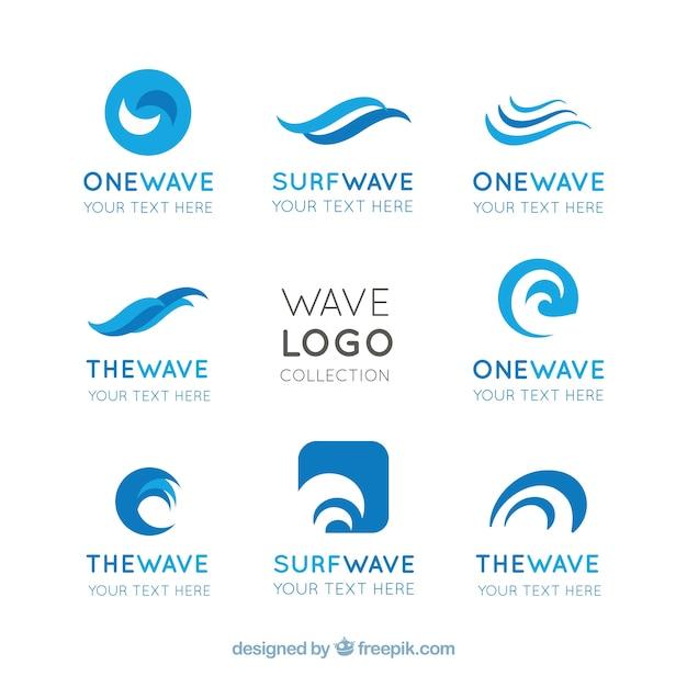flat pack of wave logos with abstract designs vector free download rh freepik com wave login uk wave logger tide