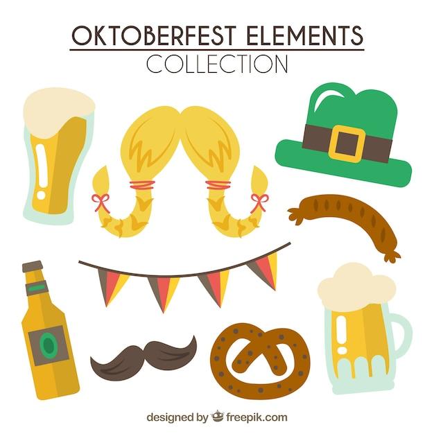 Flat pack of oktoberfest elements Free Vector