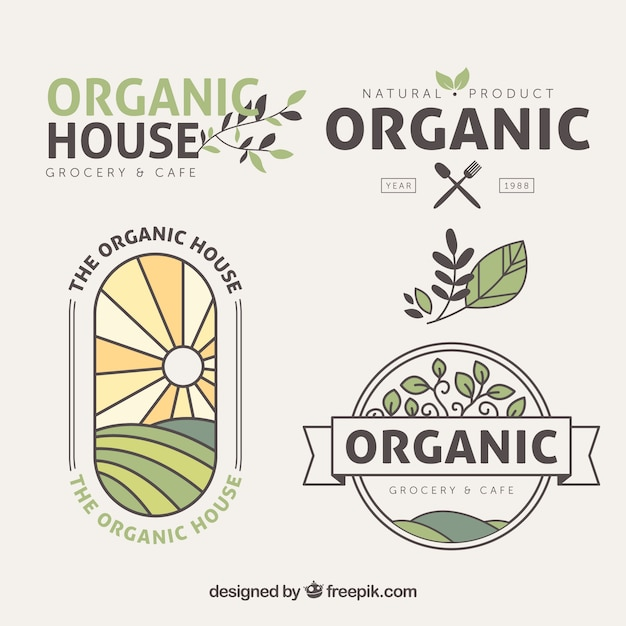 Flat pack organic food stickers with colored\ details