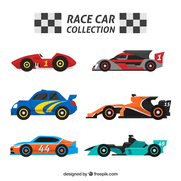 Flat pack of racing cars Free Vector