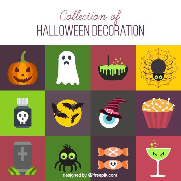 flat pack with halloween elements free vector