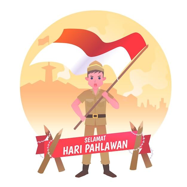 Flat pahlawan heroes day Free Vector