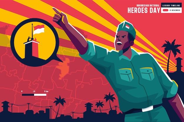 Flat pahlawan / heroes' day Premium Vector