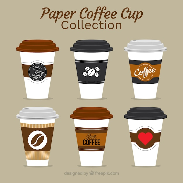 Flat paper coffee cup collection Free Vector