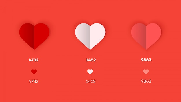Flat and paper heart icons. Premium Vector