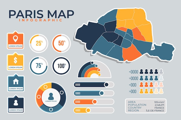 Flat paris map infographics Free Vector