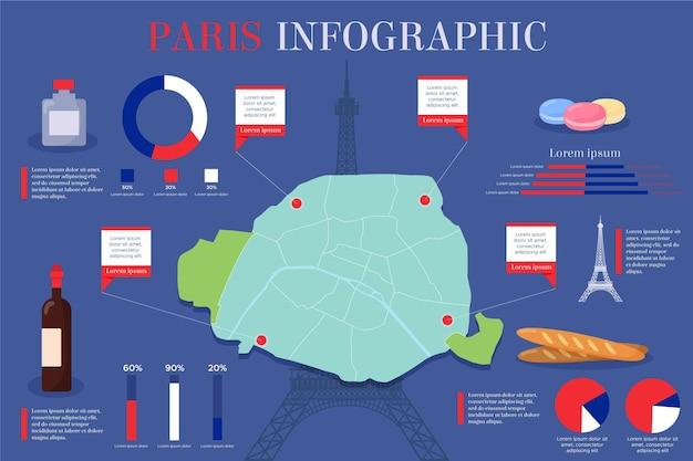 편평한 파리지도 인포 그래픽 무료 벡터