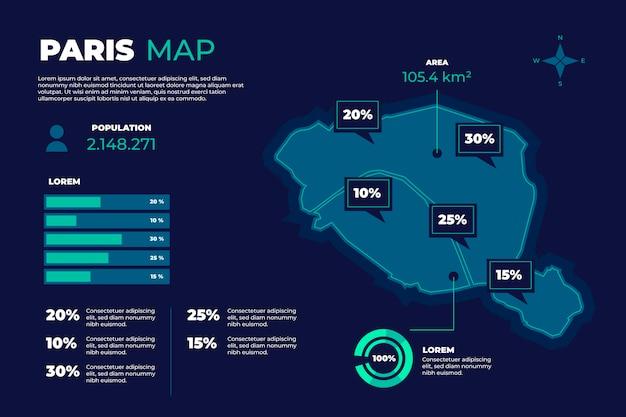 Плоская инфографика карты парижа Бесплатные векторы