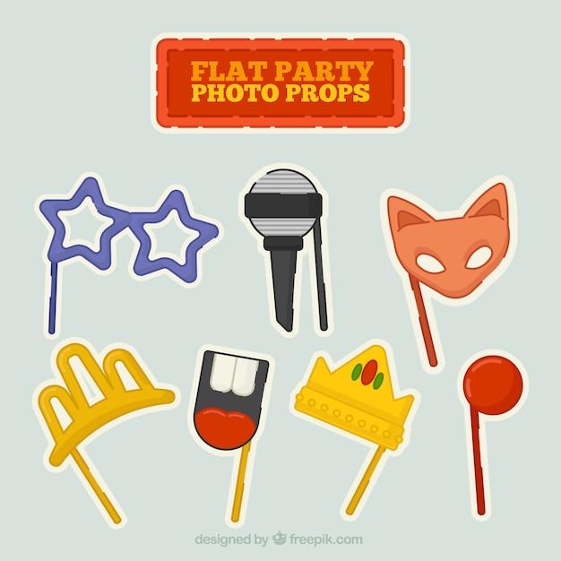 Puntelli della foto del partito piatto Vettore gratuito