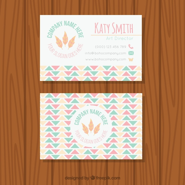 Flat pastel business card in boho style vector free download flat pastel business card in boho style free vector reheart Images