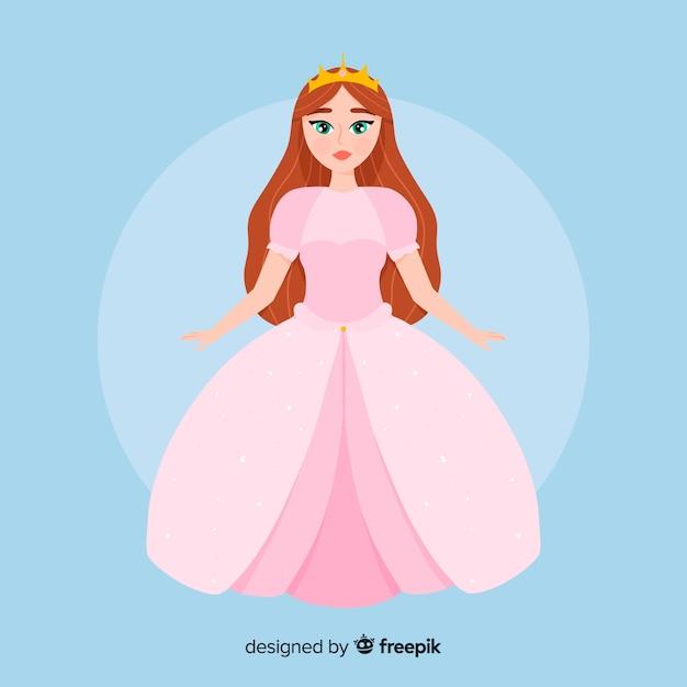 Flat pastel color princess illustration Free Vector