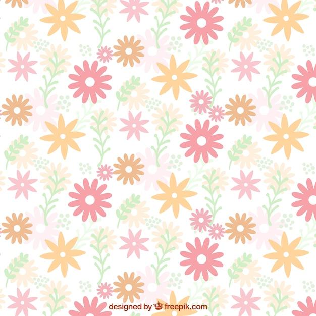 Flat Pattern Of Cute Flowers In Pastel Colors