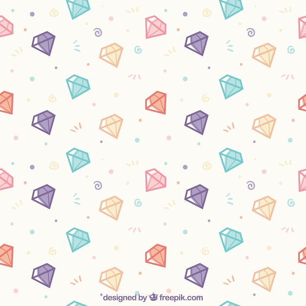 Flat Pattern With Colored Diamonds Free Vector