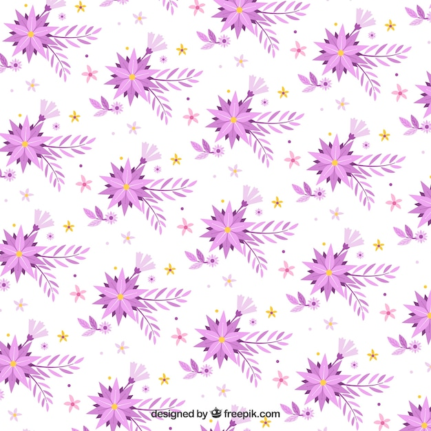 Flat pattern with flowers in purple\ tones