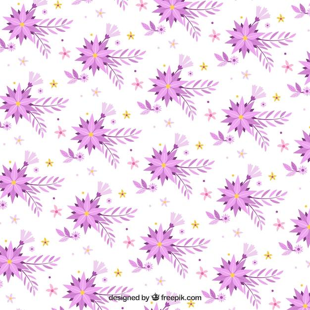 Flat pattern with flowers in purple\ tones