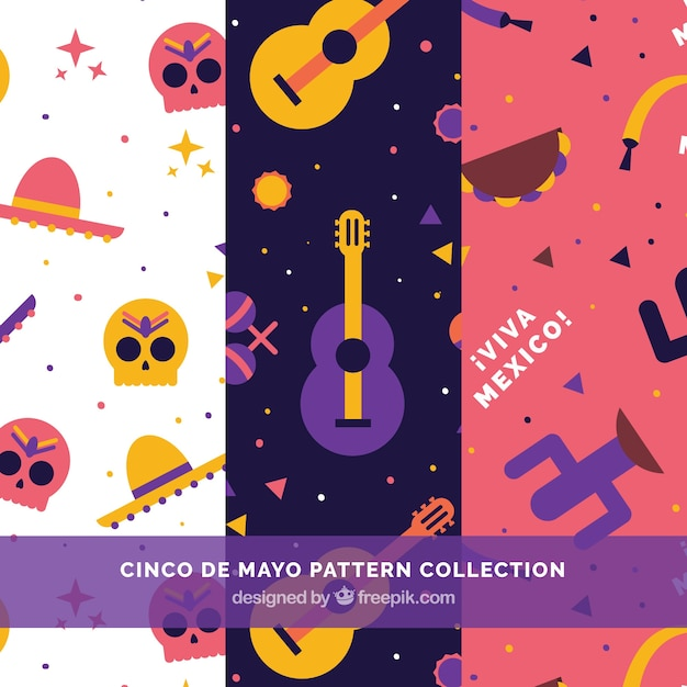 Flat patterns with colored mexican elements Free Vector