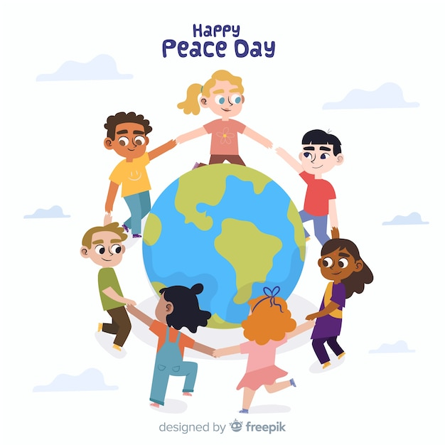 Flat peace day background with children Free Vector