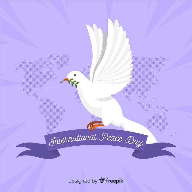 Flat peace day background with a dove Free Vector