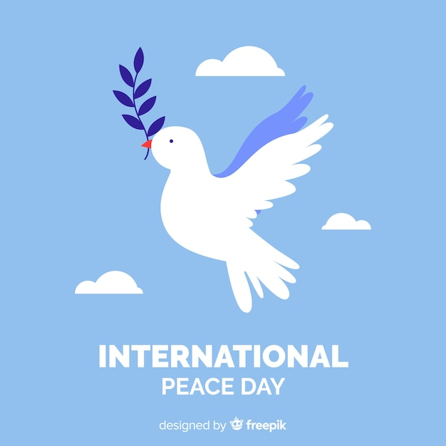 Flat peace day background with dove Free Vector