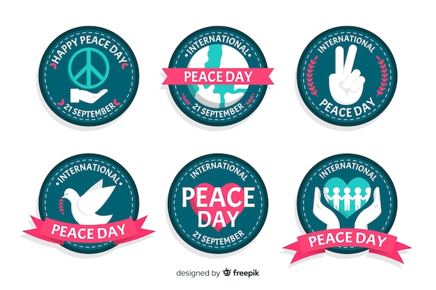 Flat peace day badge collection Free Vector