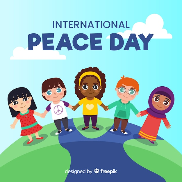 Flat peace day of kids holding hands Free Vector