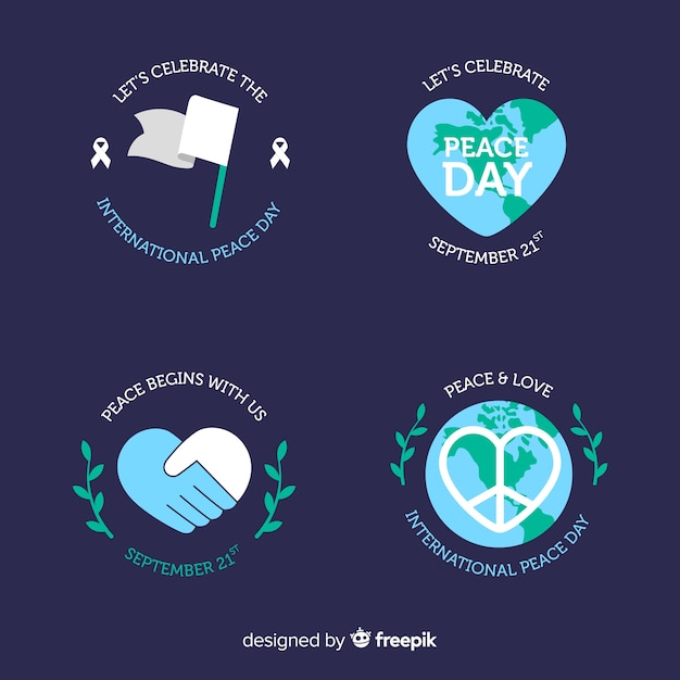 Flat peace day round label collection Free Vector
