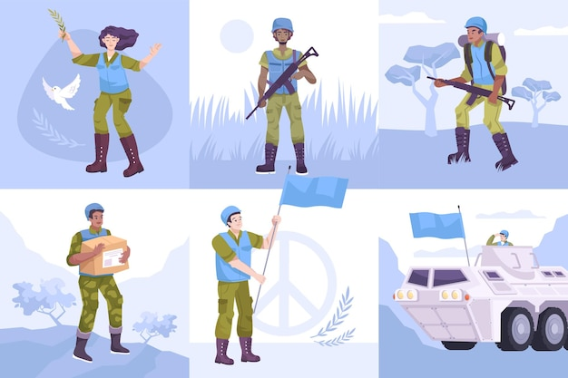 Flat peacekeepers composition set Premium Vector