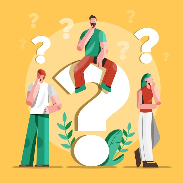 Flat people asking questions illustration Free Vector