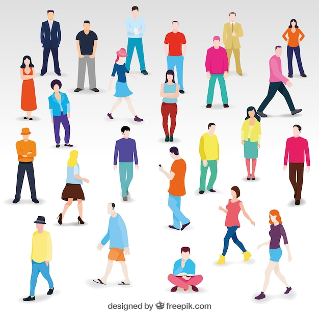 Flat people at different situations Free Vector