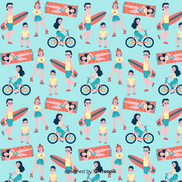 Flat people at the beach pattern Free Vector