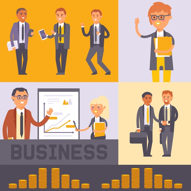 Flat people businessman characters vector illustration. business man and woman in formal black suits shaking hands. workers team. people standing near presentation Premium Vector