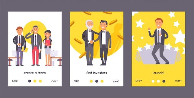 Flat people businessman set of poster. two man in formal black suits shaking hands. create team. find investors, launch. Premium Vector
