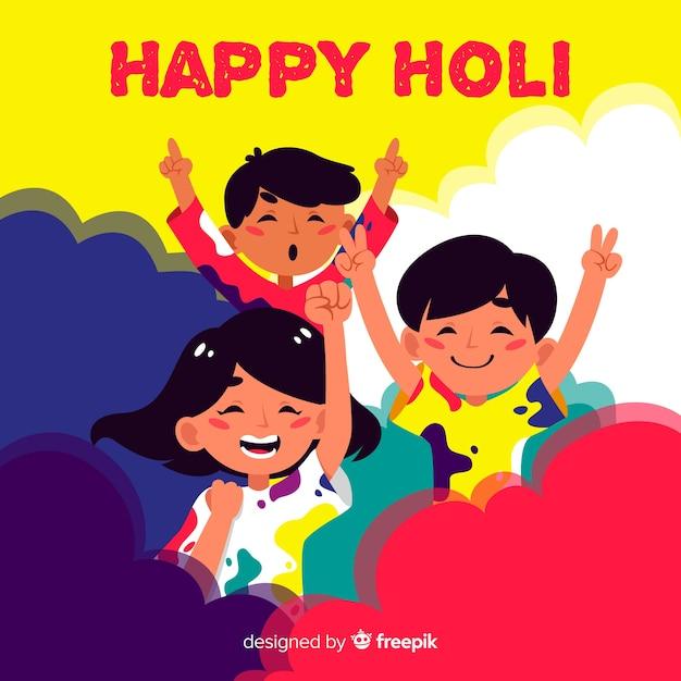 Flat people celebrating holi festival background Free Vector