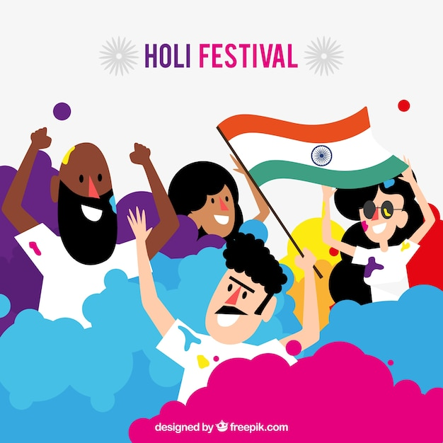 Flat people celebrating holi festival  Free Vector
