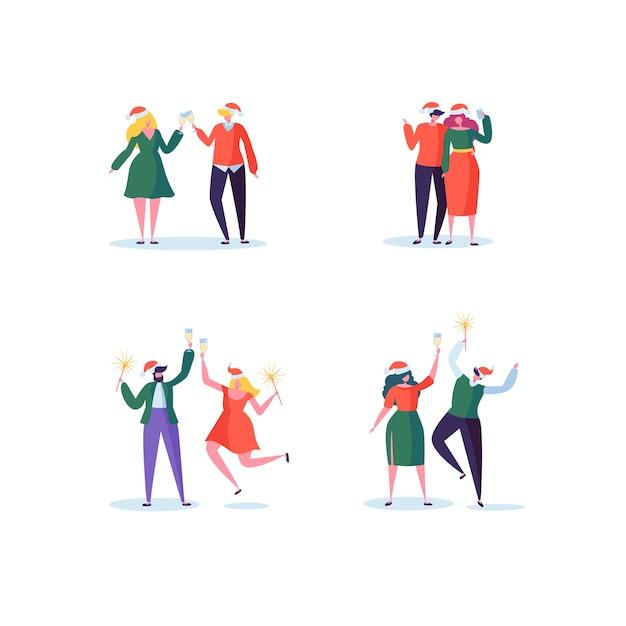 Плоские люди празднуют новогоднюю вечеринку с бокалами шампанского Premium векторы
