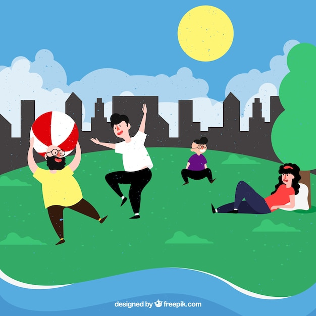 Flat people doing leisure outdoor activities Free Vector