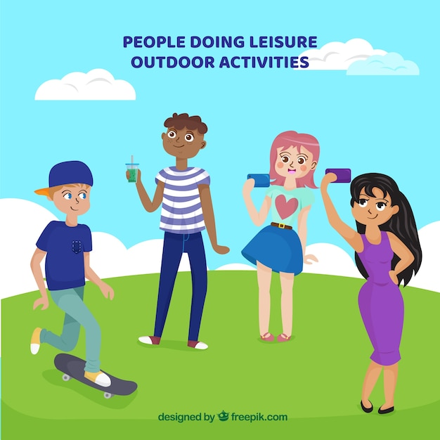 Flat people doing leisure outdoor\ activities