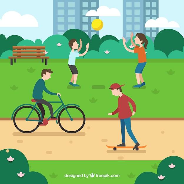 Flat people doing leisure outdoor activities Free Vector