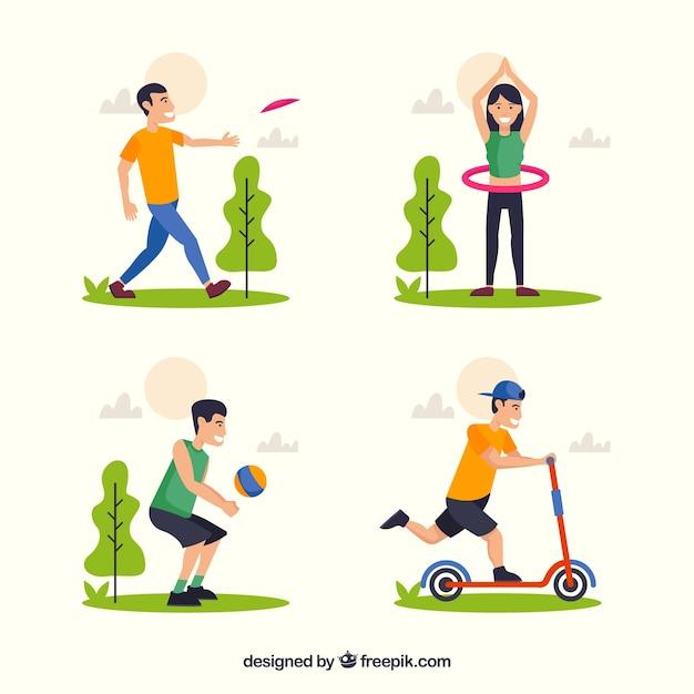 Flat people doing leisure outdoor\ activities