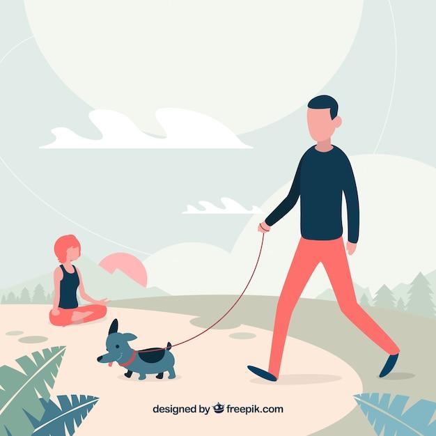 Flat people doing outdoor activities Free Vector