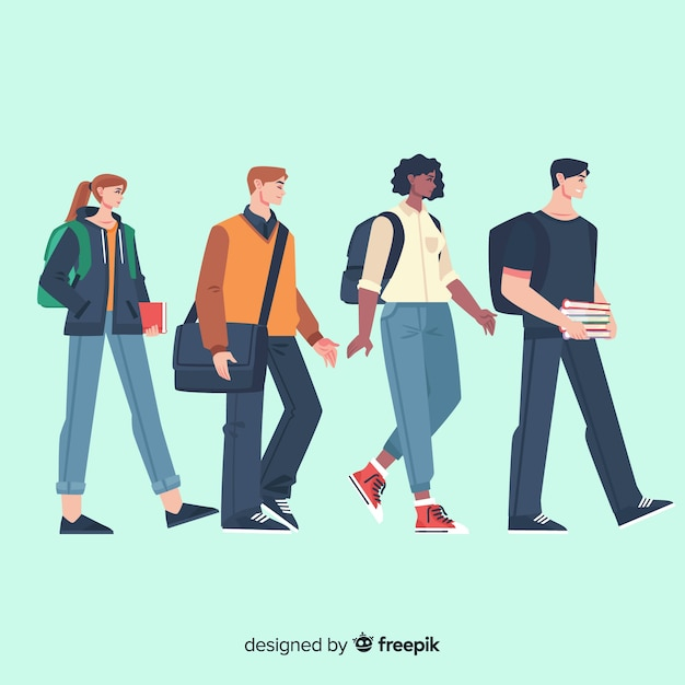 Flat people going to university collection Free Vector