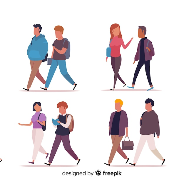 Flat people going to university Free Vector
