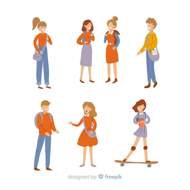 Flat people going to the university Free Vector
